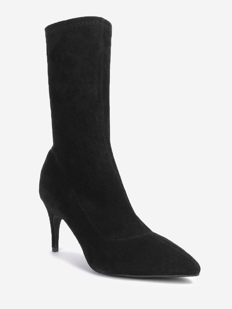 Trendy Mid Calf Pointed Toe Stiletto Boots