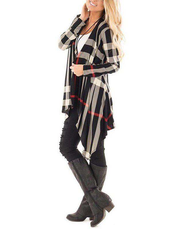 Plaid Asymmetric Draped Tunic CardiganWOMEN<br><br>Size: L; Color: COLORMIX; Type: Cardigans; Material: Polyester; Sleeve Length: Full; Collar: Collarless; Style: Fashion; Pattern Type: Plaid; Season: Fall; Weight: 0.3300kg; Package Contents: 1 x Cardigan;