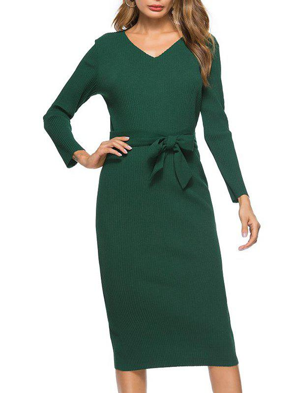 Discount V Neck Bowknot Belt Knit Dress