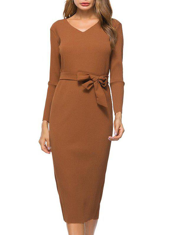 Unique V Neck Bowknot Belt Knit Dress