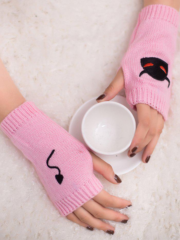 Discount Halloween Devil Embroidery Exposed Finger Knitted Gloves