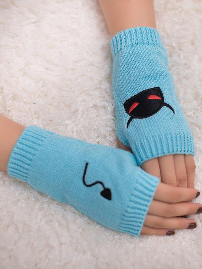 Fashion Halloween Devil Embroidery Exposed Finger Knitted Gloves