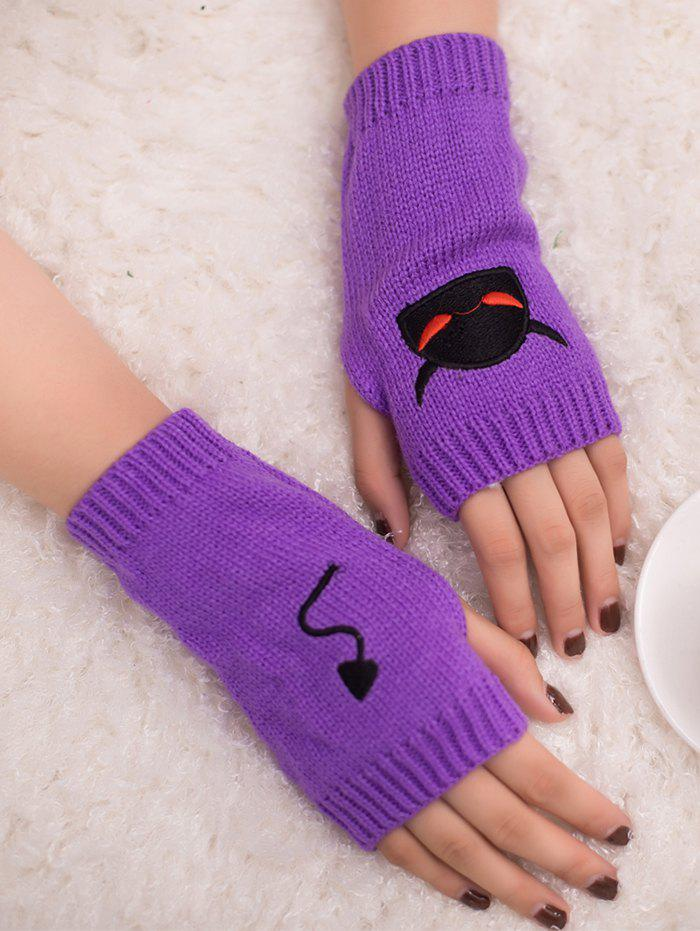 Latest Halloween Devil Embroidery Exposed Finger Knitted Gloves