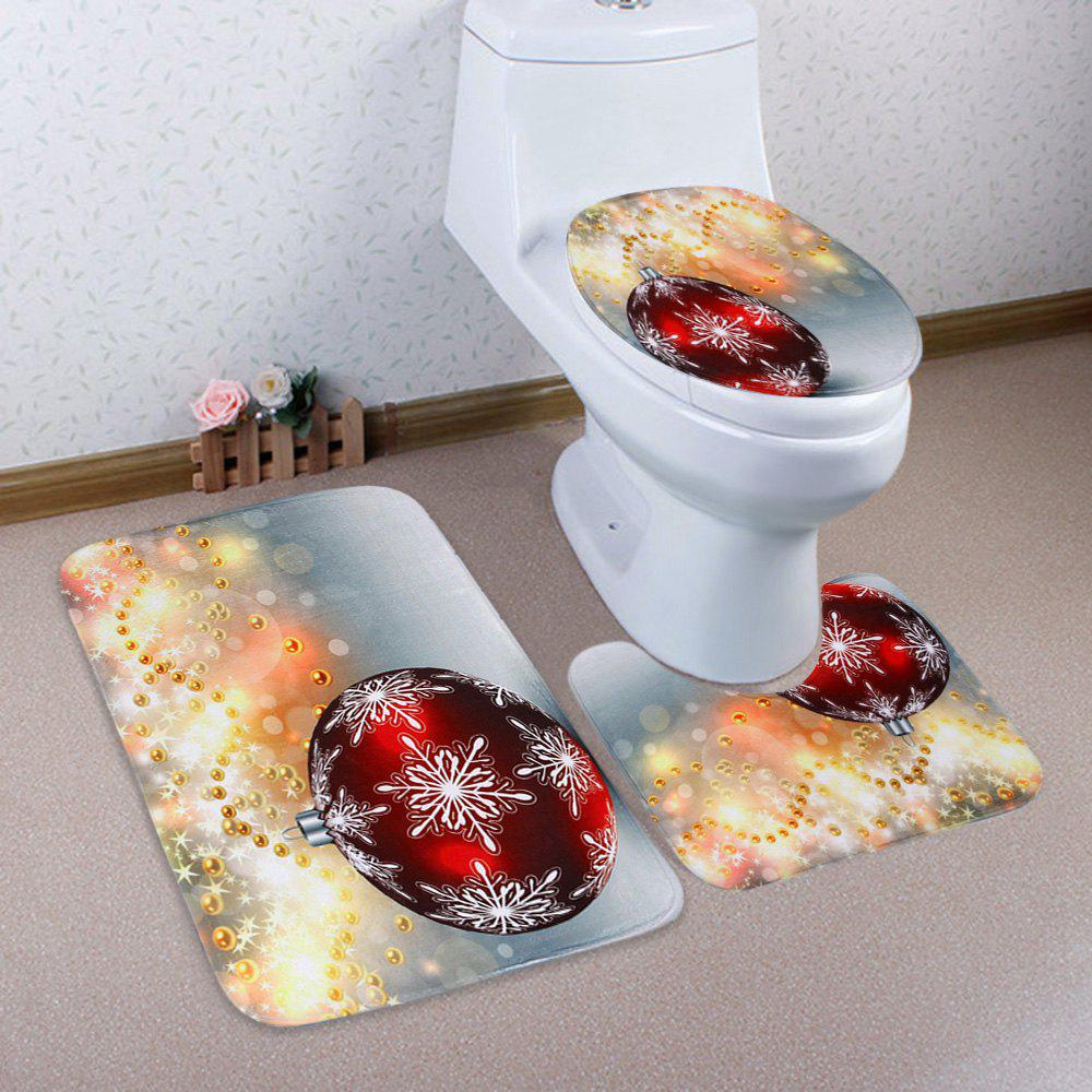 Affordable 3Pcs Christmas Ball Print Toilet Bath Rugs Set