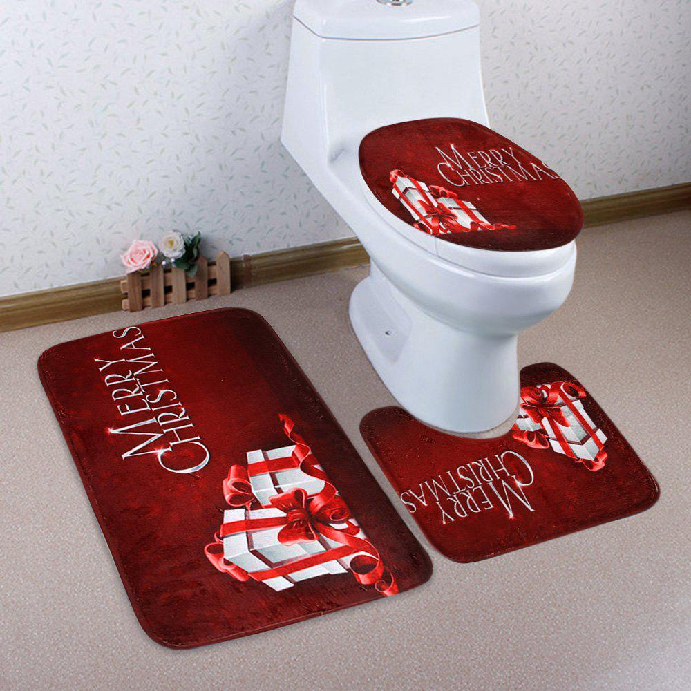 3Pcs Christmas Gift Print Bath Toilet Rugs SetHOME<br><br>Color: DARK RED; Products Type: Bath Mats; Materials: Coral FLeece; Pattern: Letter; Style: Festival; Size: Pedestal Rug: 40*50CM, Lid Toilet Cover: 38*43CM, Bath Mat: 50*80CM; Package Contents: 1 x Pedestal Rug 1 x Lid Toilet Cover 1 x Bath Mat;