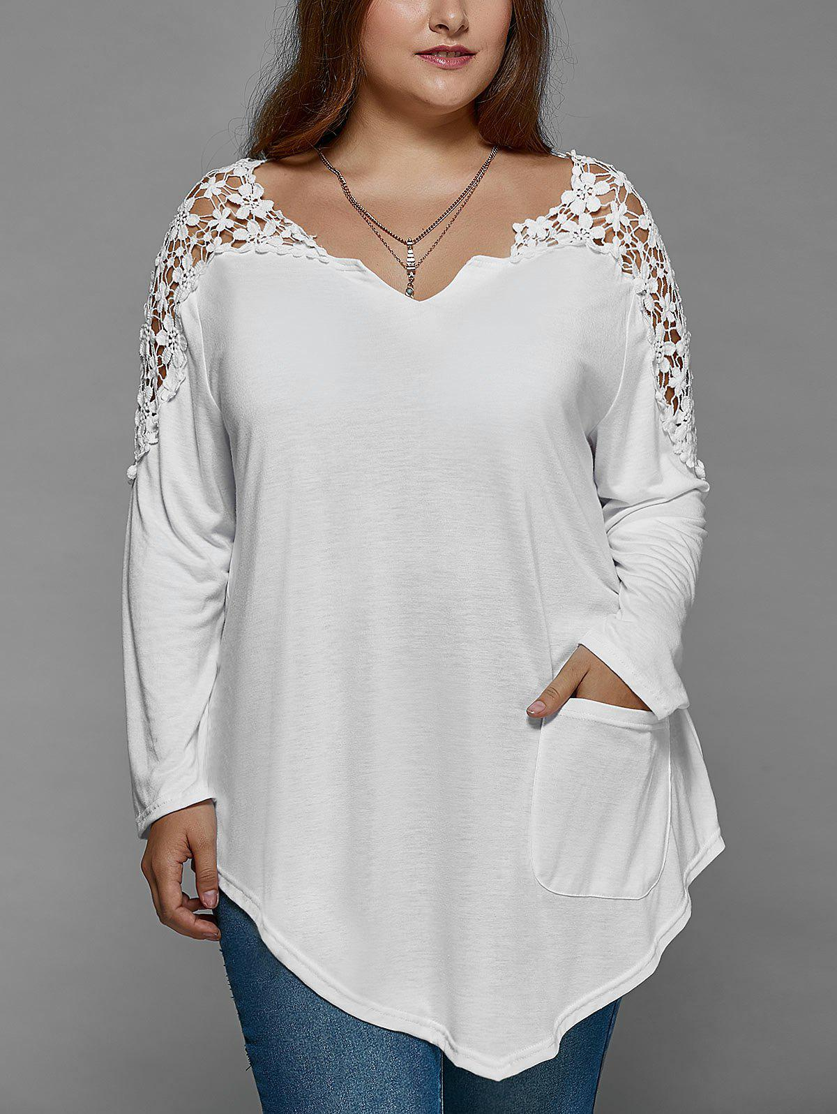 Plus Size Lace Insert Long Sleeve Tunic T-ShirtWOMEN<br><br>Size: 3XL; Color: WHITE; Material: Lace,Polyester; Shirt Length: Regular; Sleeve Length: Full; Collar: V-Neck; Style: Fashion; Season: Fall,Spring; Pattern Type: Patchwork; Weight: 0.2200kg; Package Contents: 1 x T-Shirt;