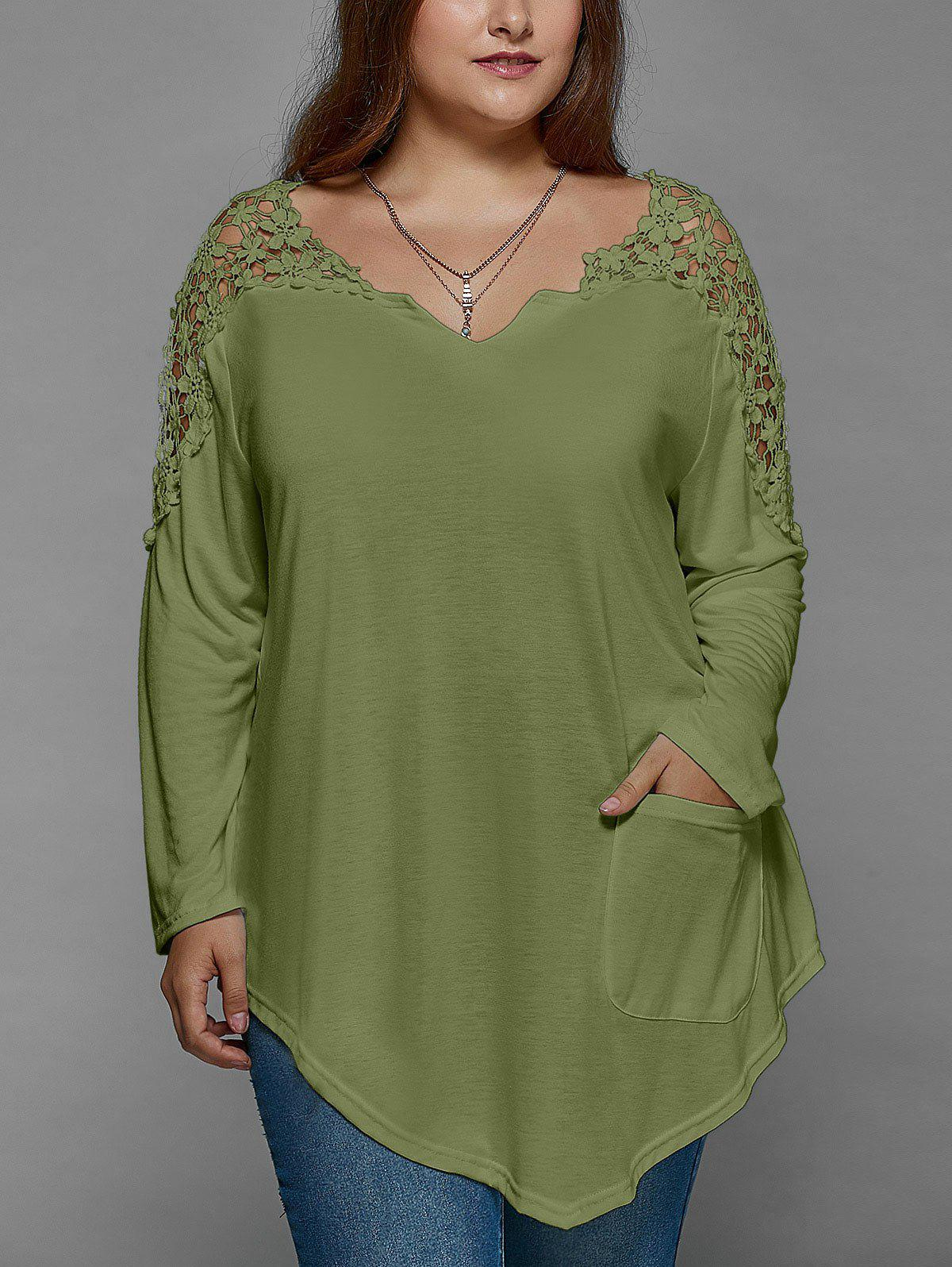 Plus Size Lace Insert Long Sleeve Tunic T-ShirtWOMEN<br><br>Size: XL; Color: OLIVE GREEN; Material: Lace,Polyester; Shirt Length: Regular; Sleeve Length: Full; Collar: V-Neck; Style: Fashion; Season: Fall,Spring; Pattern Type: Patchwork; Weight: 0.2200kg; Package Contents: 1 x T-Shirt;