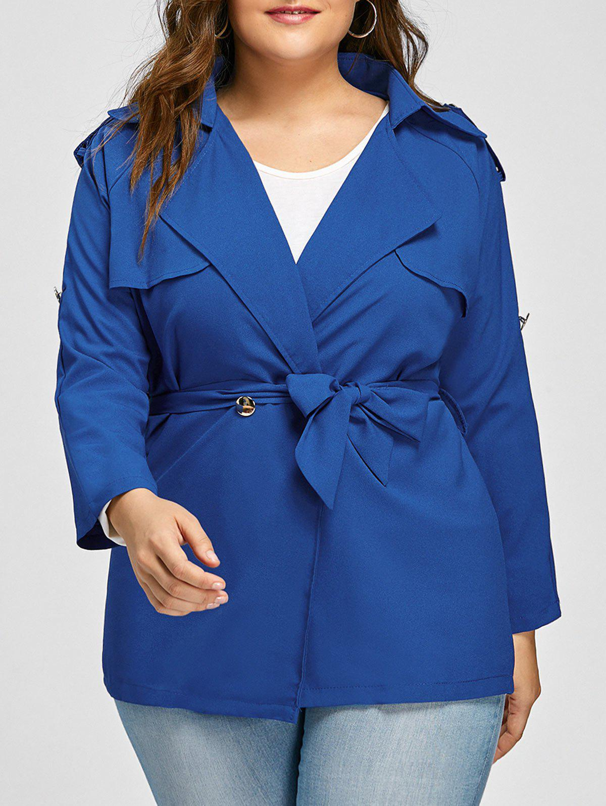 Buy Plus Size Lapel Belted Raglan Sleeve Jacket