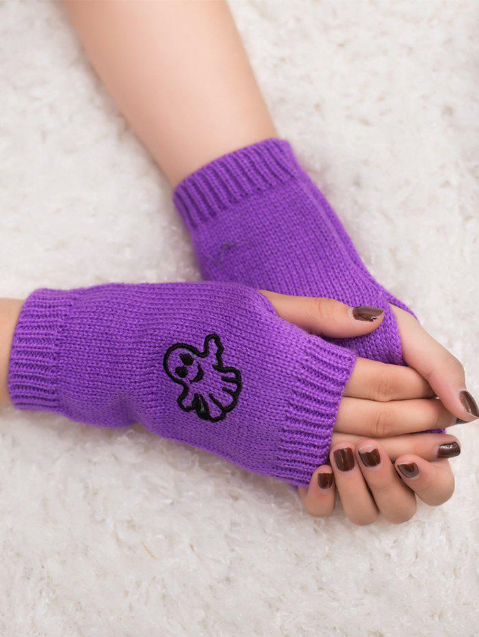 Halloween Ghost Embroidery Exposed Finger Knitting GlovesACCESSORIES<br><br>Color: PURPLE; Group: Adult; Gender: Unisex; Style: Fashion; Pattern Type: Others; Material: Acrylic; Weight: 0.0310kg; Package Contents: 1 x Gloves (Pair);