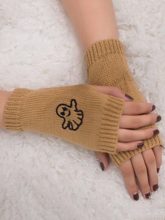 Chic Halloween Ghost Embroidery Exposed Finger Knitting Gloves
