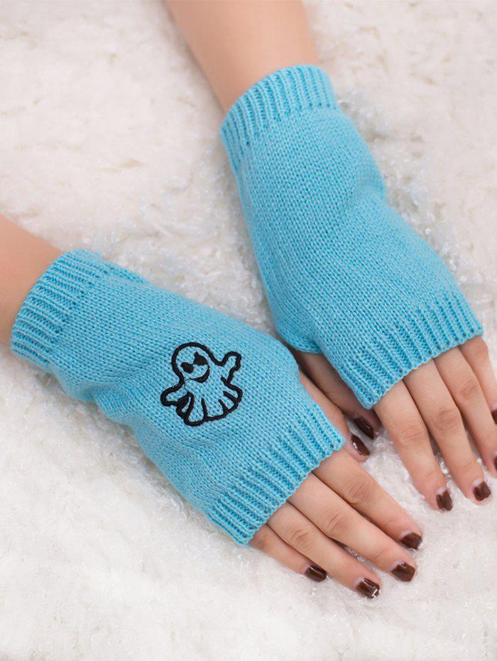 Shop Halloween Ghost Embroidery Exposed Finger Knitting Gloves