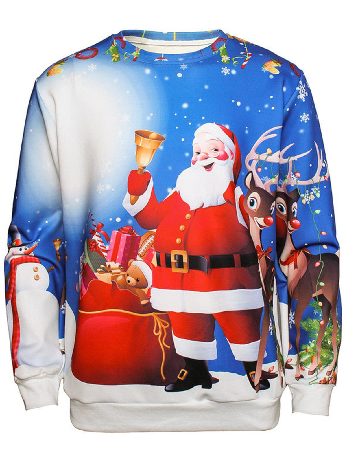 Christmas Santa Print Pullover SweatshirtMEN<br><br>Size: 2XL; Color: COLORMIX; Material: Cotton,Polyester; Shirt Length: Regular; Sleeve Length: Full; Style: Fashion; Weight: 0.4400kg; Package Contents: 1 x Sweatshirt;