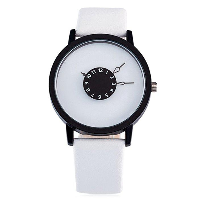Latest Faux Leather Strap Number Round Watch