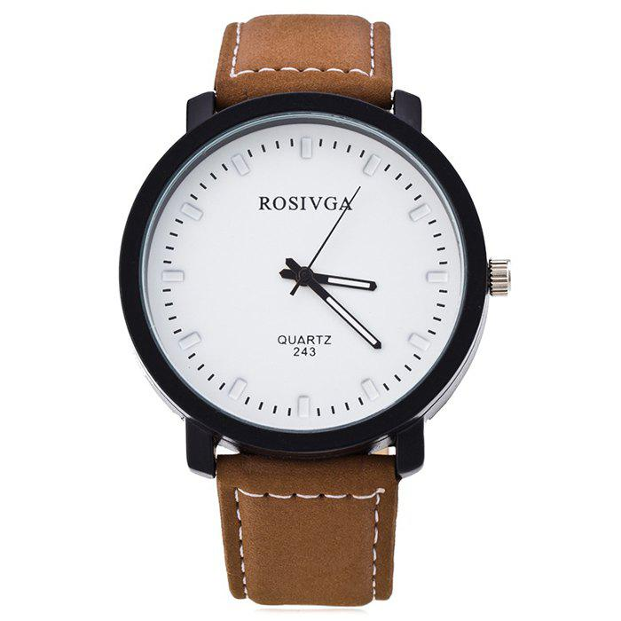 Faux Leather Strap Round Analog WatchJEWELRY<br><br>Color: WHITE AND BROWN; Gender: For Men; Style: Fashion; Type: Quartz watch; Index Dial: Analog; Case material: Alloy; Band material: PU Leather; Movement: Quartz; Dial Shape: Round; Water-Proof: No; Case Thickness(MM): 10mm; Dial Diameter: 4.5cm; Band Length(CM): 24cm; Band Width(CM): 2cm; Package Contents: 1 x Watch;