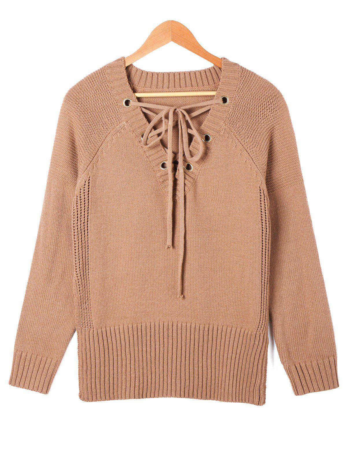 Buy Lace Up Side Slit Sweater