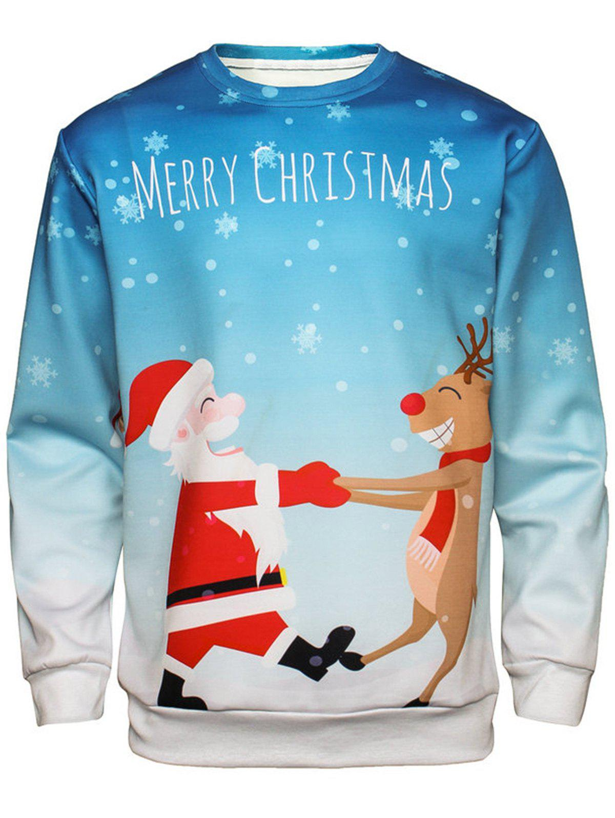 Christmas Santa Reindeer Pullover SweatshirtMEN<br><br>Size: XL; Color: COLORMIX; Material: Cotton,Polyester; Shirt Length: Regular; Sleeve Length: Full; Style: Fashion; Weight: 0.4400kg; Package Contents: 1 x Sweatshirt;