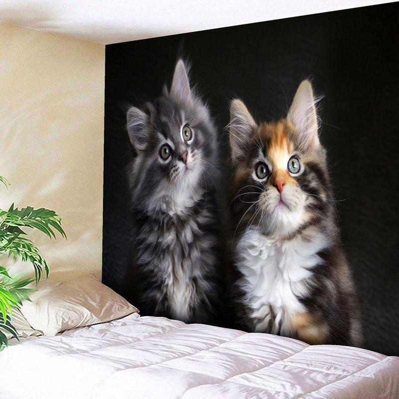 Bedroom Decor Cat Printed Wall TapestryHOME<br><br>Size: W79 INCH * L59 INCH; Color: BLACK; Style: Cute; Material: Cotton,Polyester; Feature: Removable,Washable; Shape/Pattern: Animal; Weight: 0.2900kg; Package Contents: 1 x Tapestry;