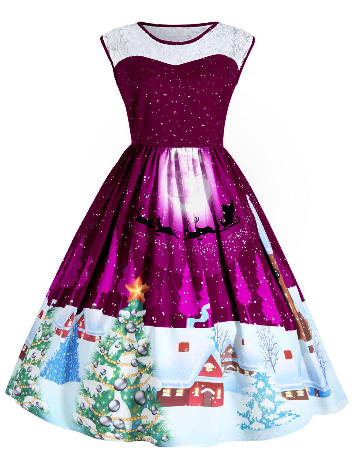 Christmas Plus Size Lace Panel Sleeveless Party DressWOMEN<br><br>Size: 4XL; Color: PURPLISH RED; Style: Cute; Material: Polyester; Silhouette: Ball Gown; Dresses Length: Mid-Calf; Neckline: Round Collar; Sleeve Length: Sleeveless; Waist: High Waisted; Embellishment: Hollow Out,Lace; Pattern Type: Animal,Graphic,Plant,Print; With Belt: No; Season: Fall,Winter; Weight: 0.4100kg; Package Contents: 1 x Dress;