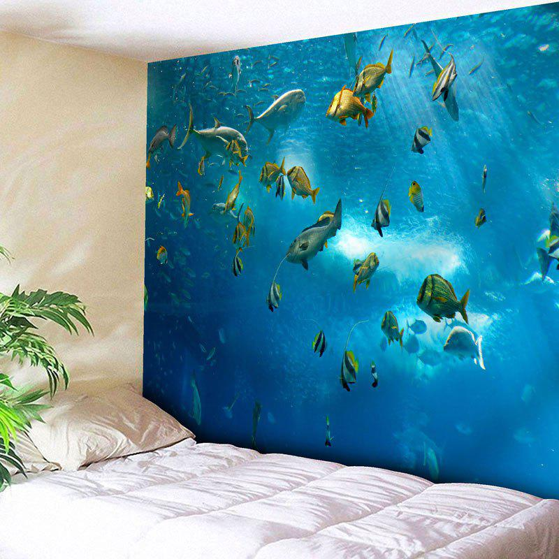 Sea World Wall Hanging Fish Pattern TapestryHOME<br><br>Size: W91 INCH * L71 INCH; Color: BLUE; Style: Casual; Material: Cotton,Polyester; Feature: Removable,Washable; Shape/Pattern: Fish; Weight: 0.3950kg; Package Contents: 1 x Tapestry;