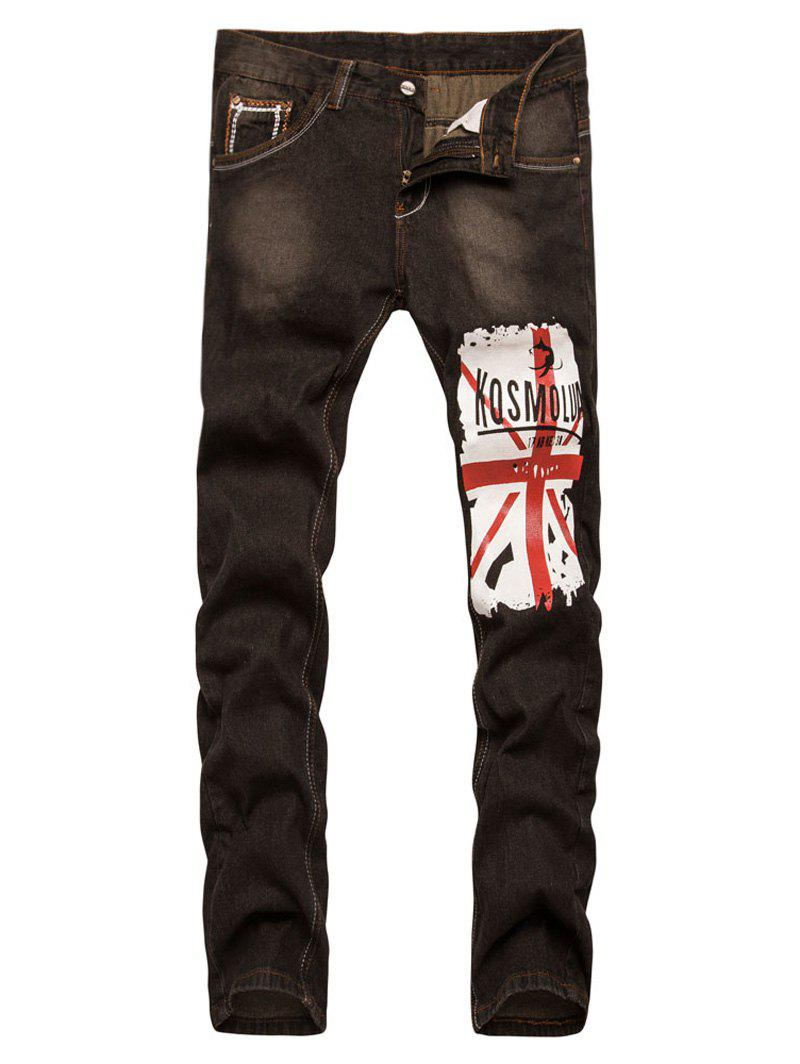 Hot Straight Leg Bleach Patriotic Print Jeans
