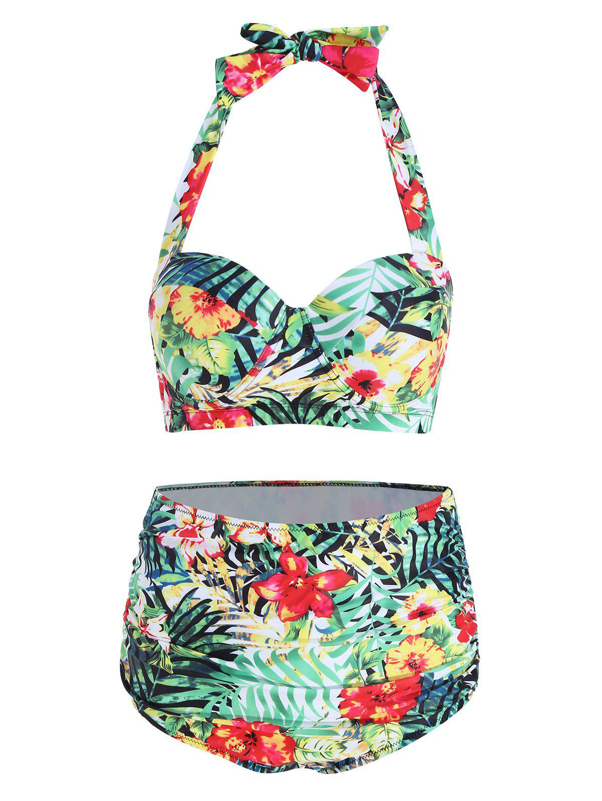 Affordable Tropical Floral Plus Size Bikini Set