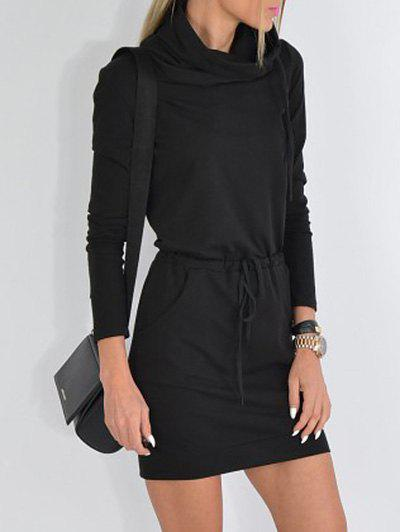 Affordable Cowl Neck Drawstring Mini Dress