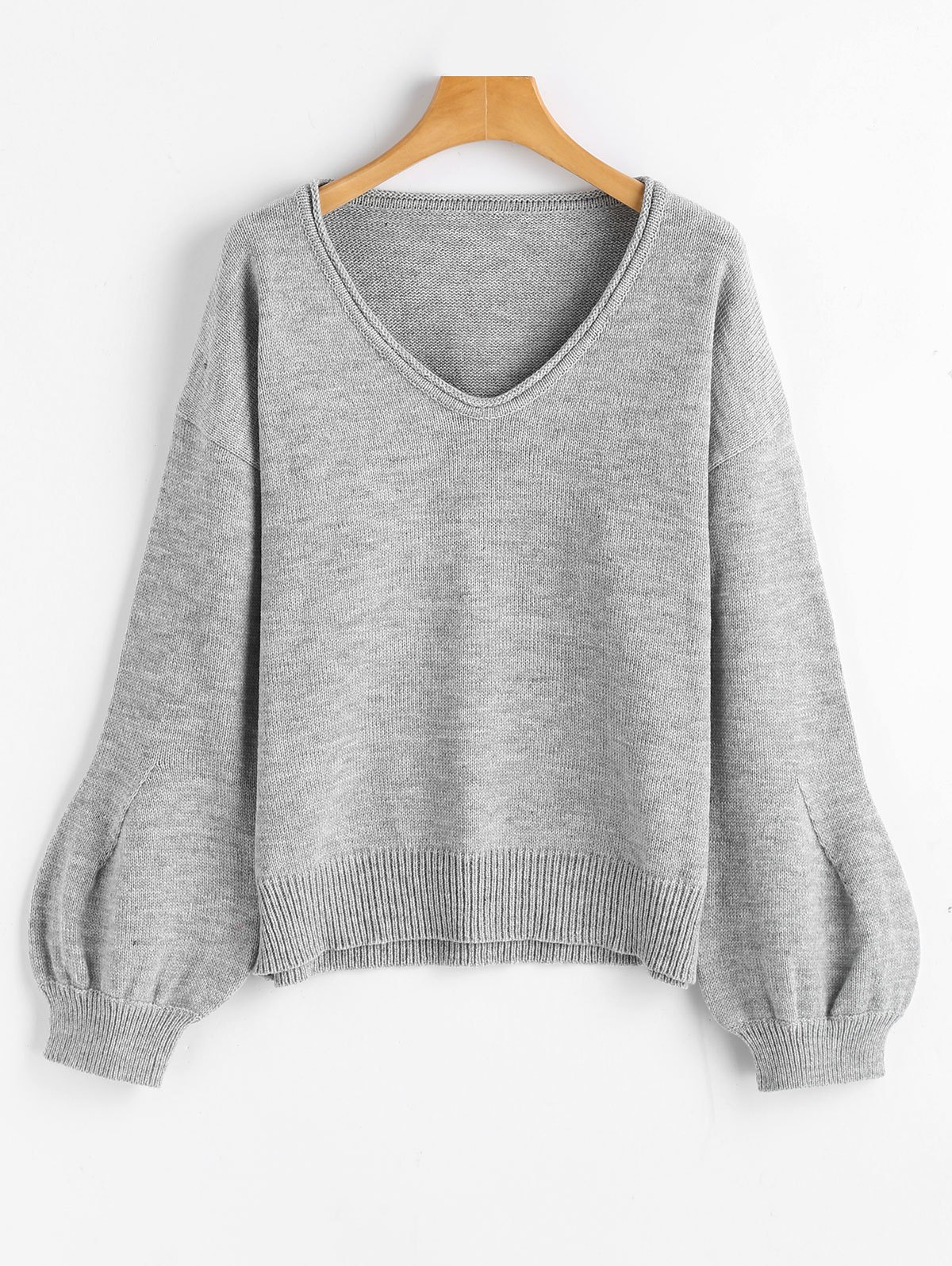 V Neck Lantern Sleeve Oversized SweaterWOMEN<br><br>Size: ONE SIZE; Color: GRAY; Type: Pullovers; Material: Acrylic,Cotton,Polyester; Sleeve Length: Full; Collar: V-Neck; Style: Fashion; Pattern Type: Solid; Weight: 0.5000kg; Package Contents: 1 x Sweater;