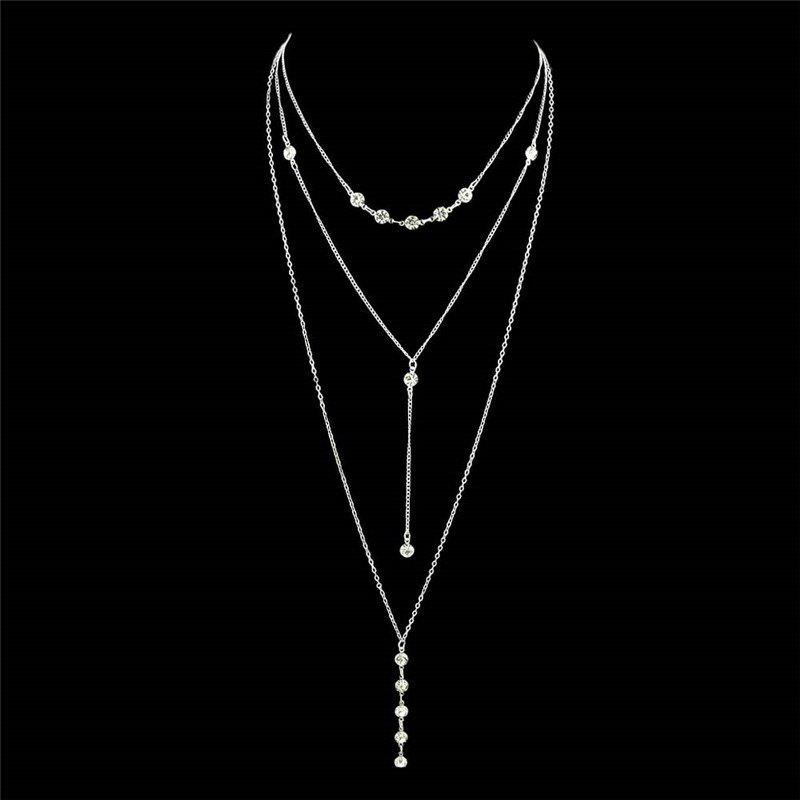 Long Pendant Crystal Layered NecklaceJEWELRY<br><br>Color: SILVER; Gender: For Girls; Material: Rhinestone; Metal Type: Alloy; Style: Trendy; Shape/Pattern: Others; Weight: 0.0123kg; Package Contents: 1 x Necklace;