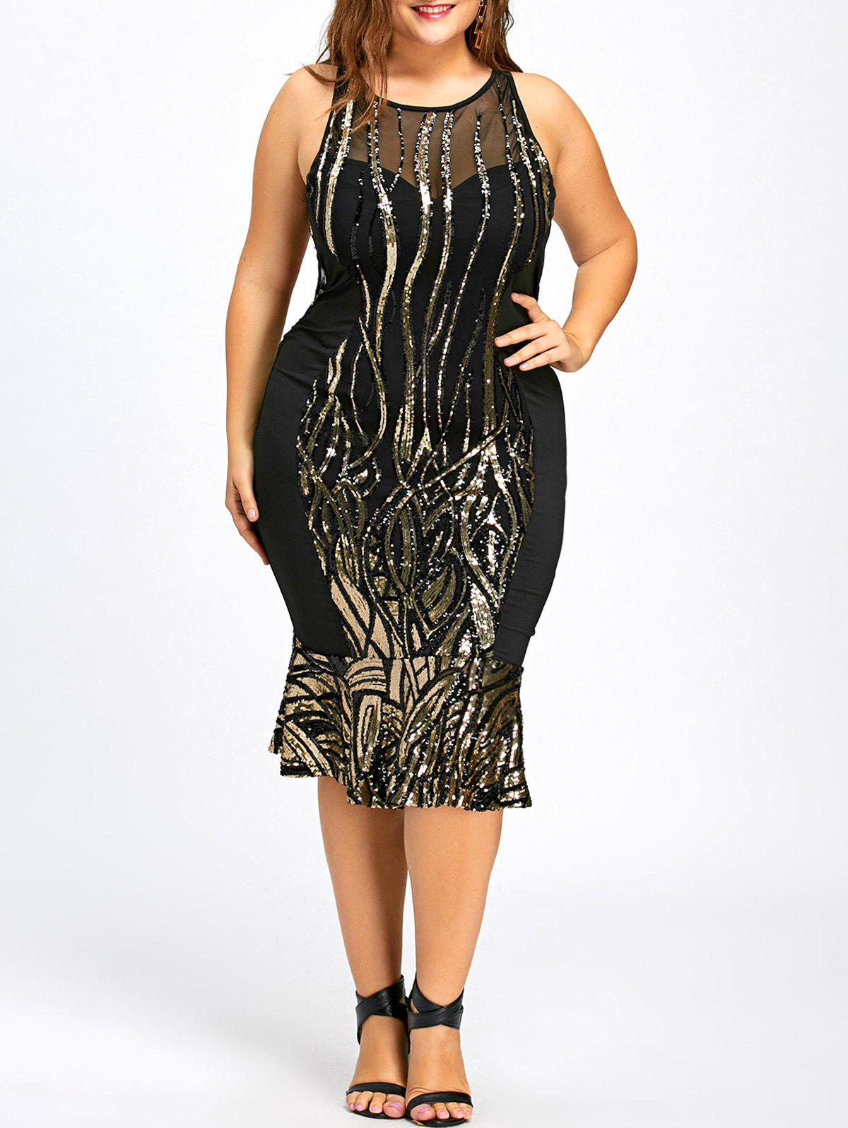Mermaid Sequin Plus Size Party Bodycon DressWOMEN<br><br>Size: 3XL; Color: BLACK; Style: Cute; Material: Polyester,Spandex; Silhouette: Trumpet/Mermaid; Dresses Length: Mid-Calf; Neckline: Jewel Neck; Sleeve Length: Sleeveless; Embellishment: Sequins; Pattern Type: Solid; With Belt: No; Season: Fall,Spring; Weight: 0.4880kg; Package Contents: 1 x Dress;