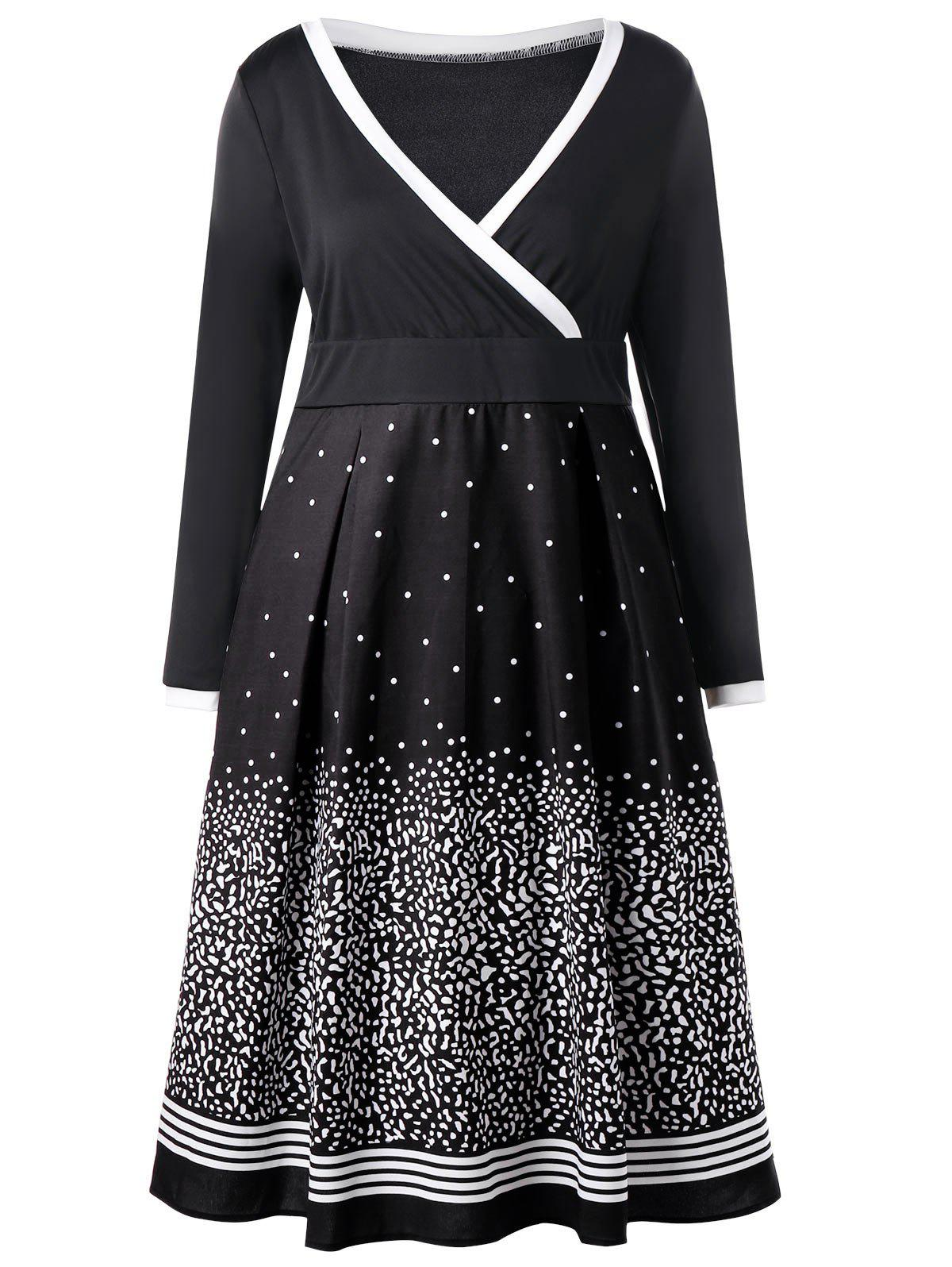 Plus Size Long Sleeve Dot Print Surplice DressWOMEN<br><br>Size: 4XL; Color: BLACK; Style: Brief; Material: Polyester,Spandex; Silhouette: A-Line; Dresses Length: Mid-Calf; Neckline: V-Neck; Sleeve Length: Long Sleeves; Pattern Type: Print; With Belt: No; Season: Fall,Spring; Weight: 0.3840kg; Package Contents: 1 x Dress;