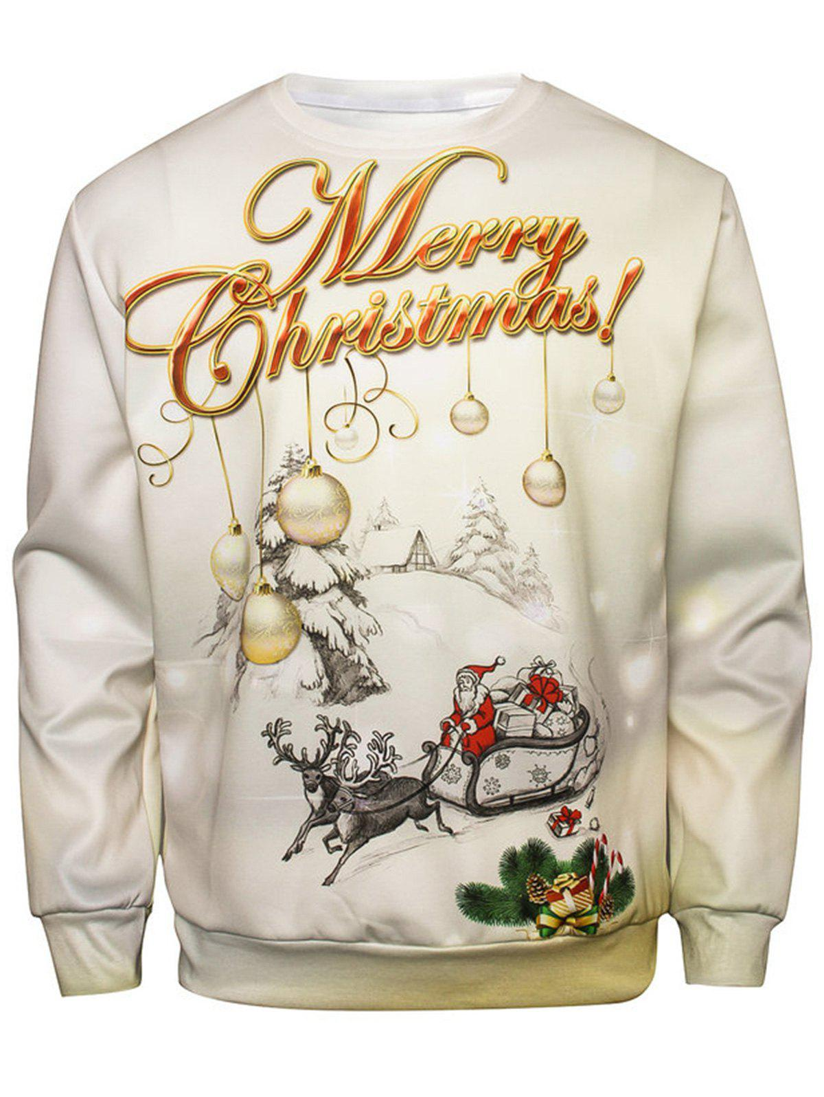 Christmas Graphic Pullover SweatshirtMEN<br><br>Size: 2XL; Color: COLORMIX; Material: Cotton,Polyester; Shirt Length: Regular; Sleeve Length: Full; Style: Fashion; Weight: 0.4400kg; Package Contents: 1 x Sweatshirt;