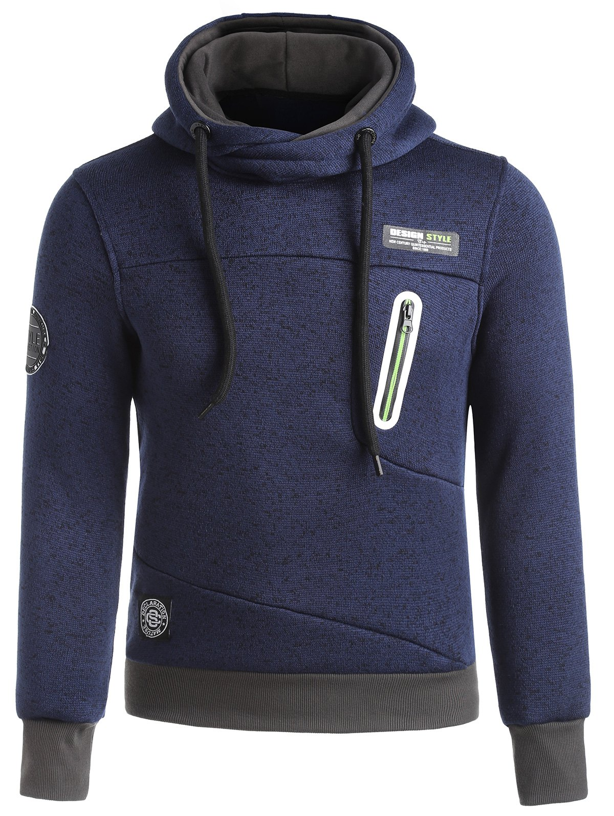 Patches Zip Insert Funnel Neck Hoodie