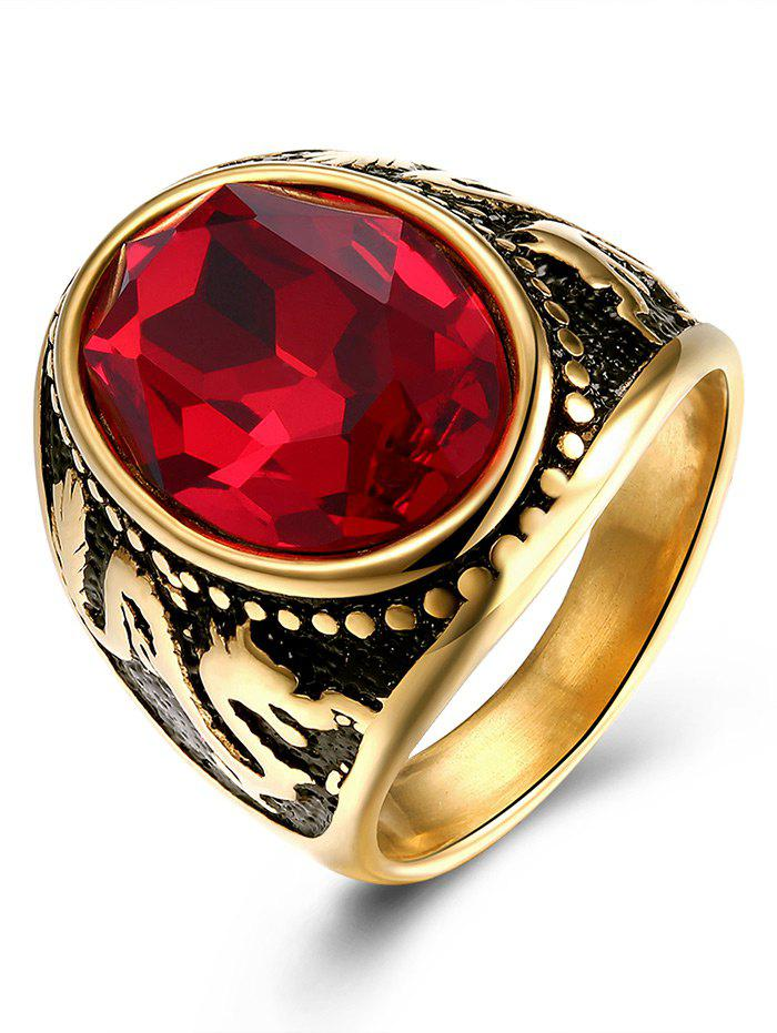 Sale Faux Ruby Engraved Dragon Oval Vintage Ring