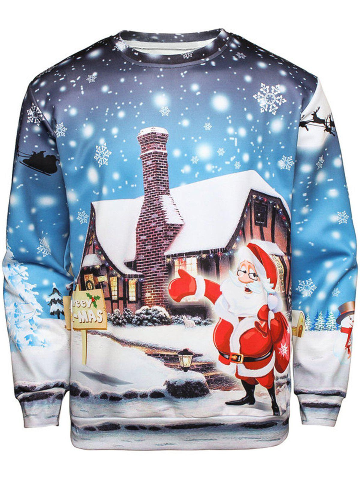 Christmas Santa House Pullover SweatshirtMEN<br><br>Size: XL; Color: COLORMIX; Material: Cotton,Polyester; Shirt Length: Regular; Sleeve Length: Full; Style: Fashion; Weight: 0.4100kg; Package Contents: 1 x Sweatshirt;