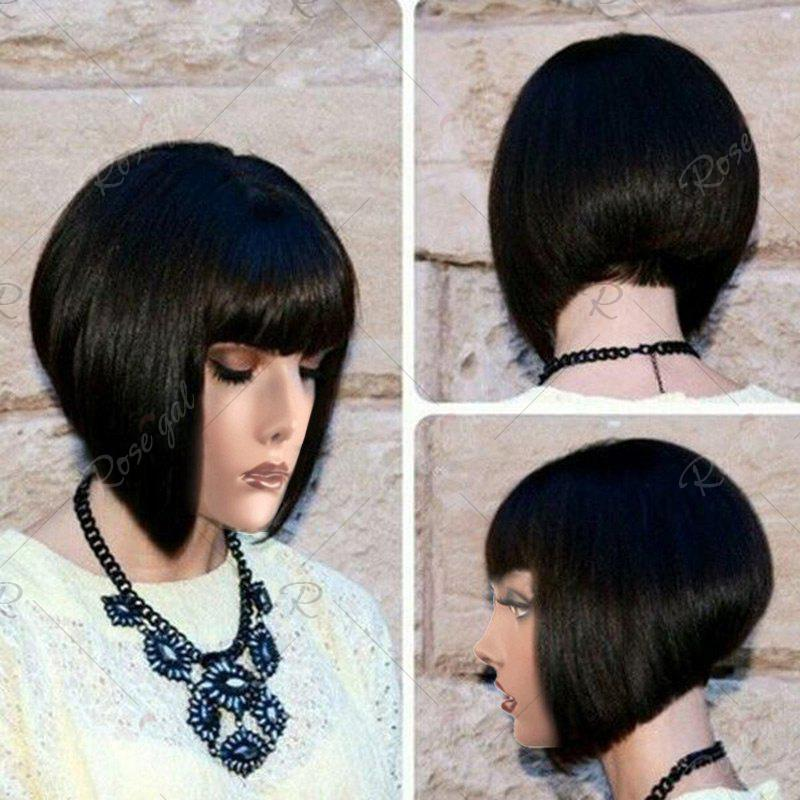 Full Bang Straight Short Inverted Bob Synthetic WigHAIR<br><br>Color: BLACK; Type: Full Wigs; Cap Construction: Capless; Style: Bob; Material: Synthetic Hair; Bang Type: Full; Length: Short; Length Size(CM): 35; Weight: 0.1550kg; Package Contents: 1 x Wig;