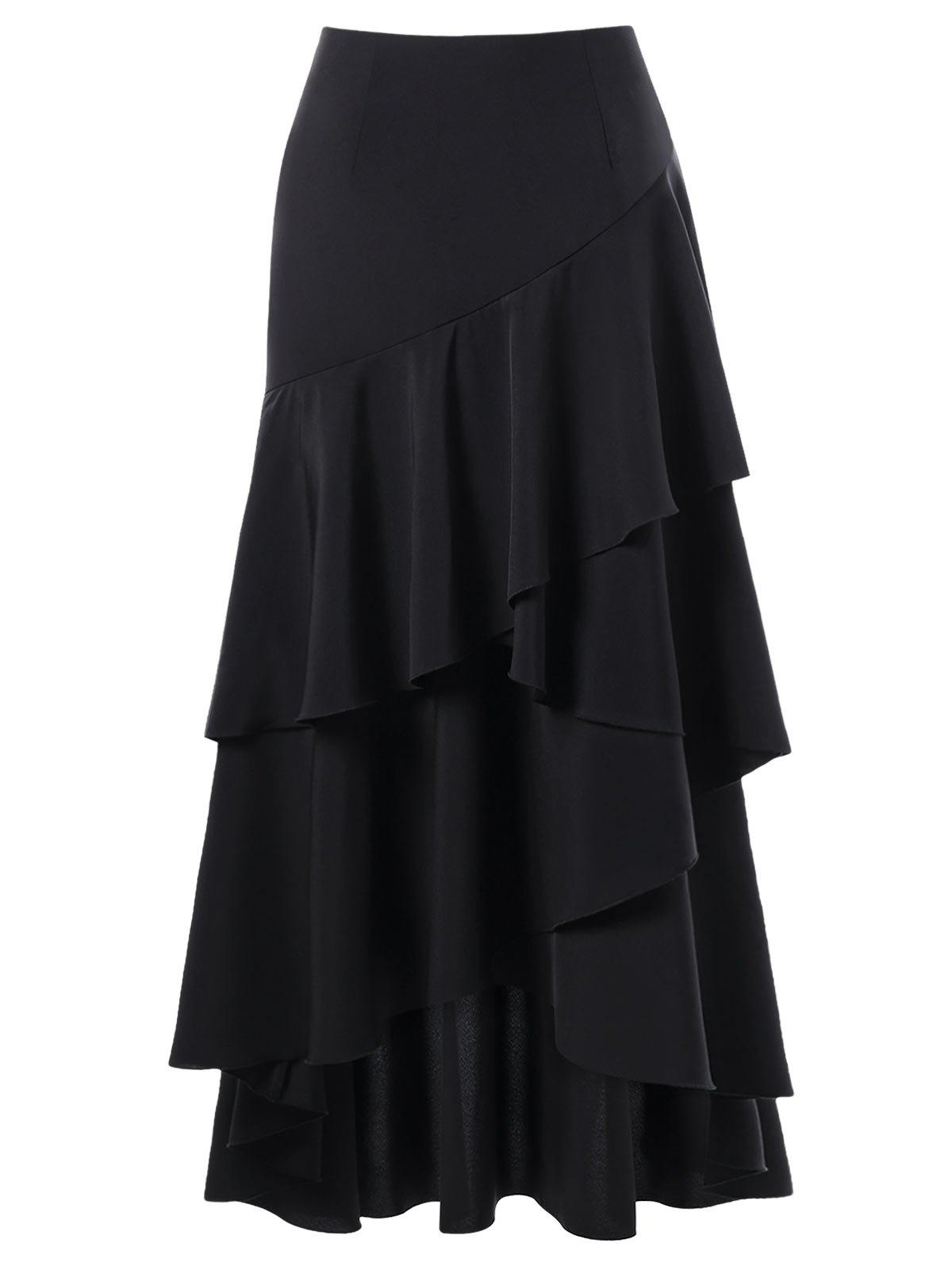 Martina Flounced Maxi SkirtWOMEN<br><br>Size: 2XL; Color: BLACK; Material: Polyester; Length: Ankle-Length; Silhouette: A-Line; Pattern Type: Solid; Embellishment: Zippers; Season: Fall,Spring; Weight: 0.4000kg; Package Contents: 1 x Skirt;