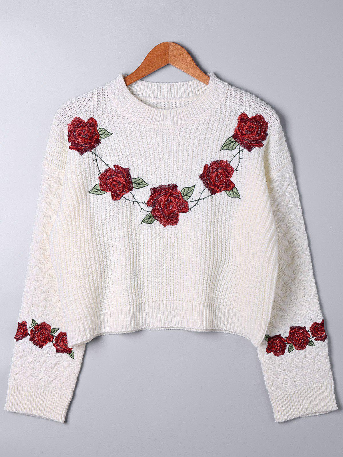 Fashion Embroidered Cable Knit Sweater