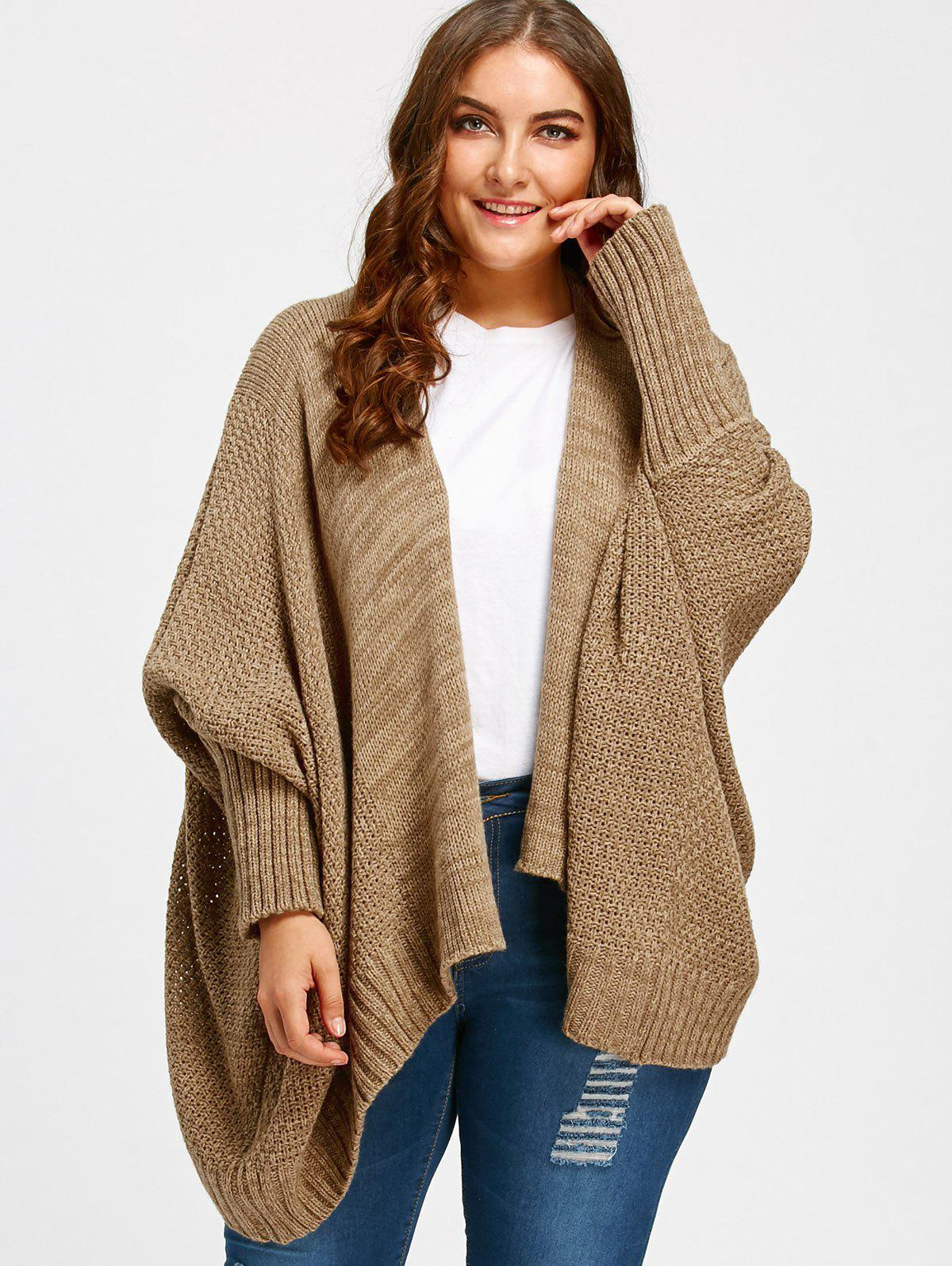 569c1f276c 2019 Batwing Sleeve Plus Size Knit Cardigan