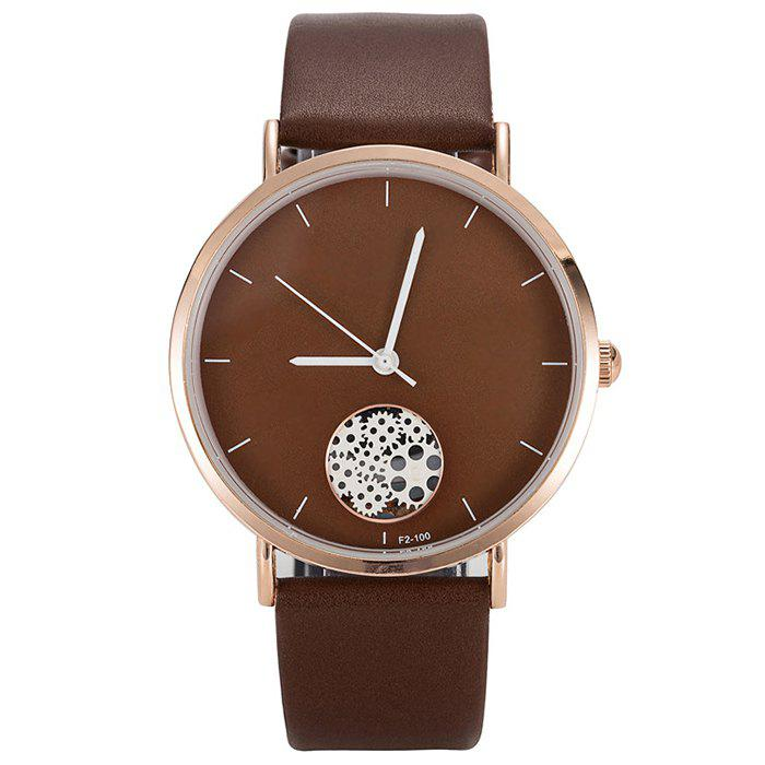 Chic Faux Leather Strap Gear Pattern Quartz Watch