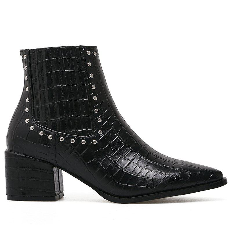 Outfit Pointed Toe Stone Pattern Rivets Boots