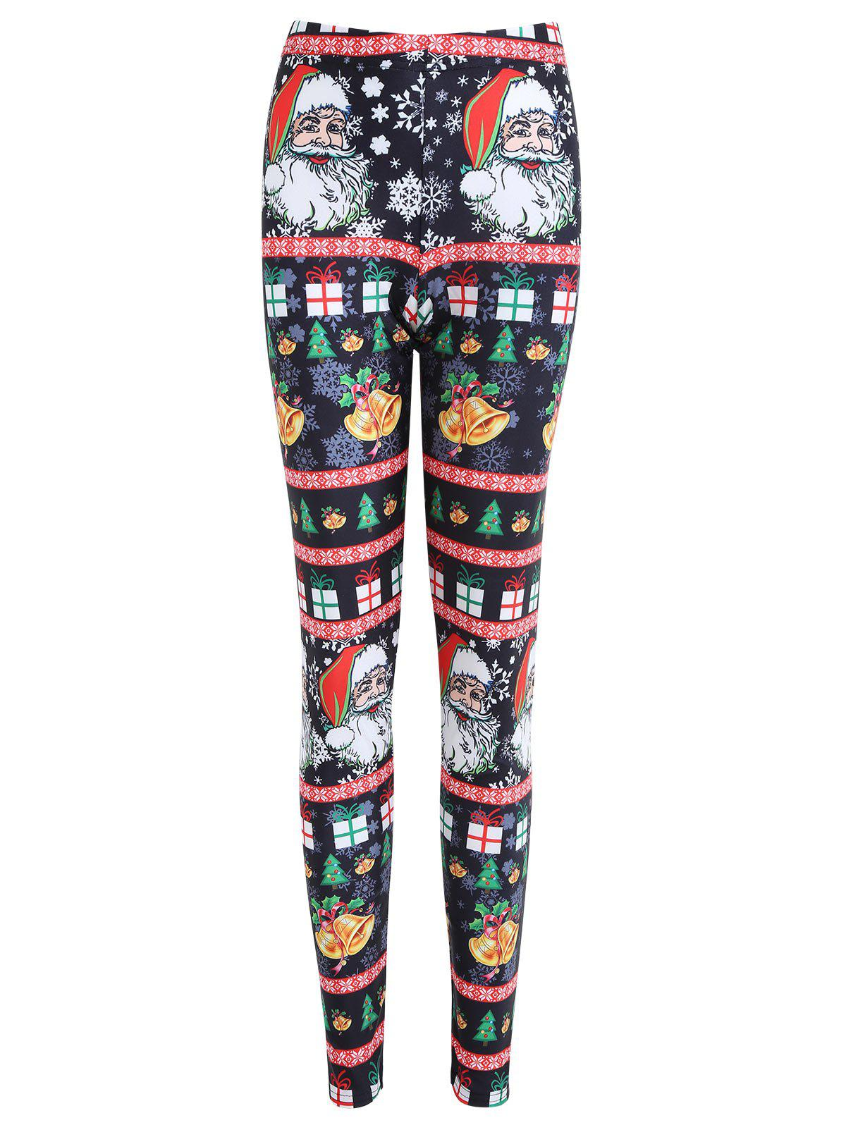 Christmas Bell Santa Claus Print Plus Size LeggingsWOMEN<br><br>Size: 5XL; Color: BLACK; Style: Fashion; Length: Normal; Material: Cotton,Polyester,Spandex; Fit Type: Skinny; Waist Type: High; Closure Type: Elastic Waist; Pattern Type: Print; Pant Style: Pencil Pants; Weight: 0.2100kg; Package Contents: 1 x Leggings;