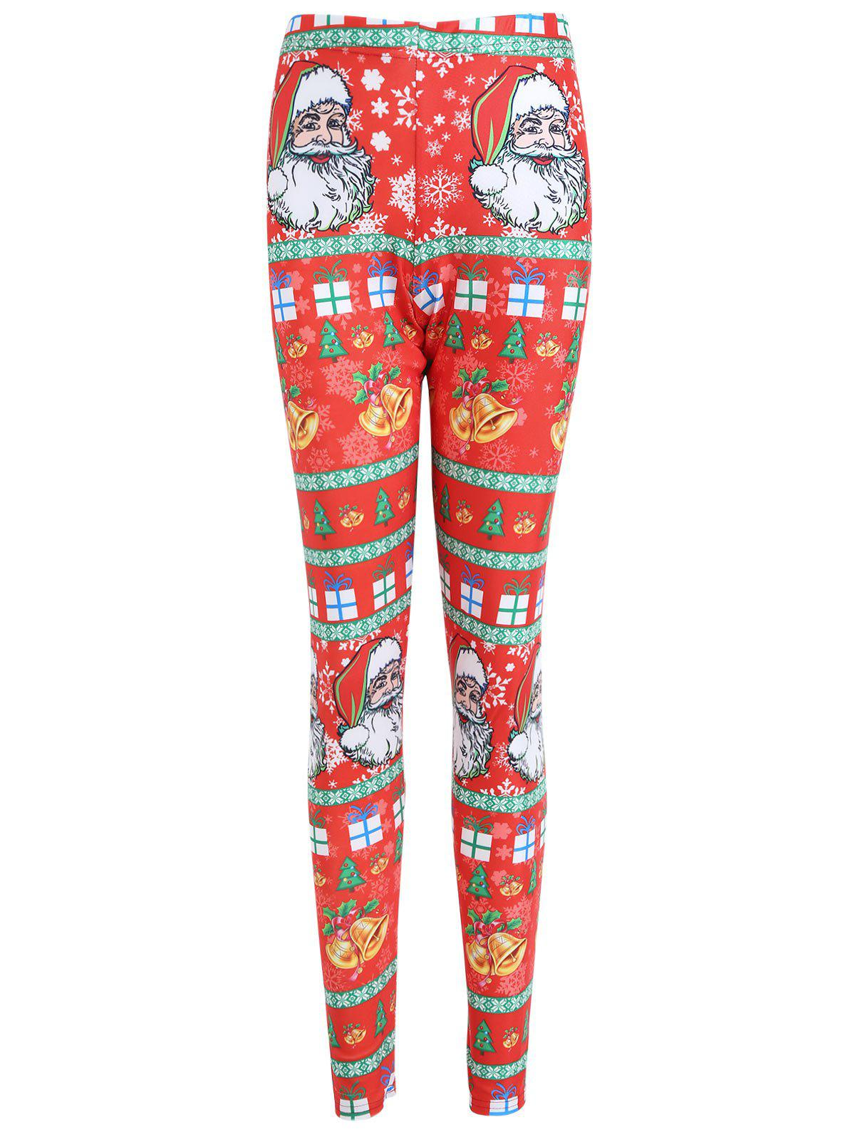 Chic Christmas Bell Santa Claus Print Plus Size Leggings