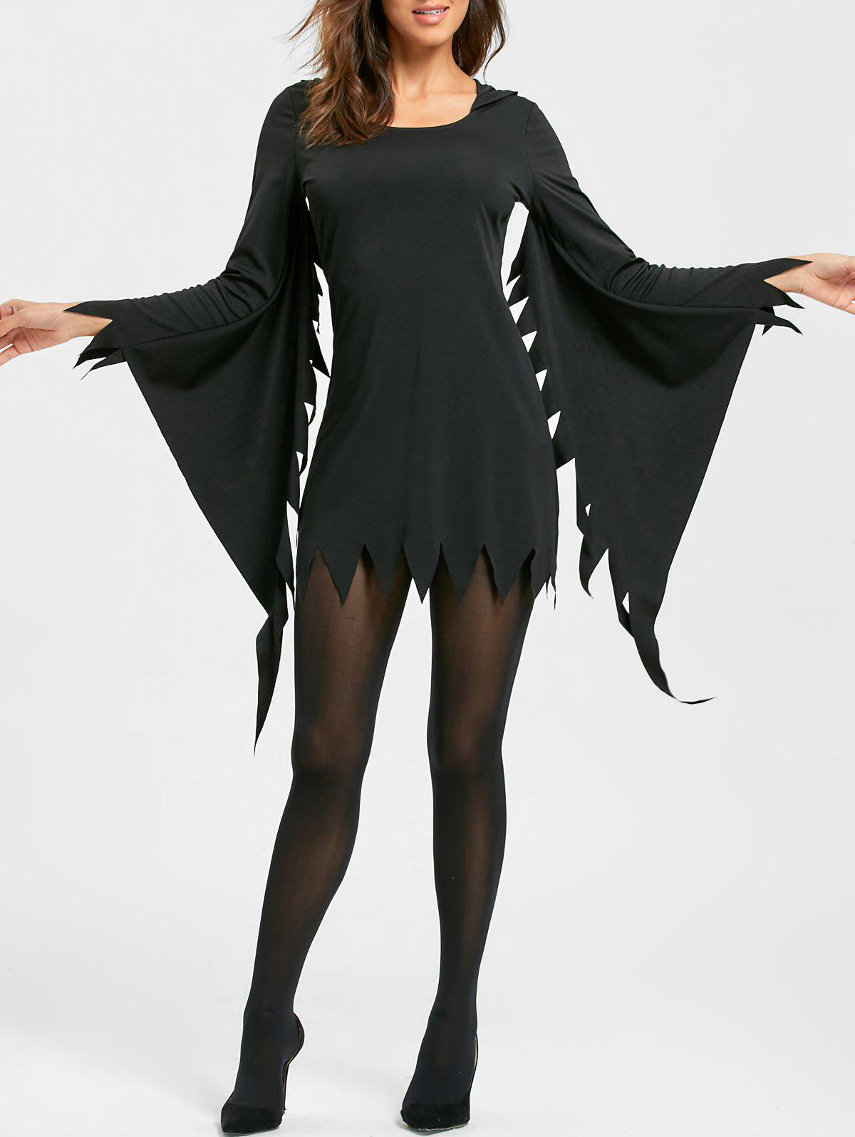 Chic Halloween Serrated Edge Mini Hooded Dress