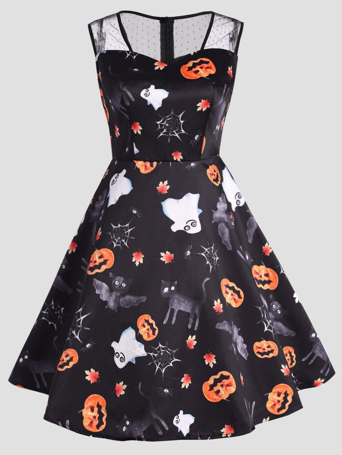 Chic Halloween Ghost Pumpkin Print Plus Size Dress