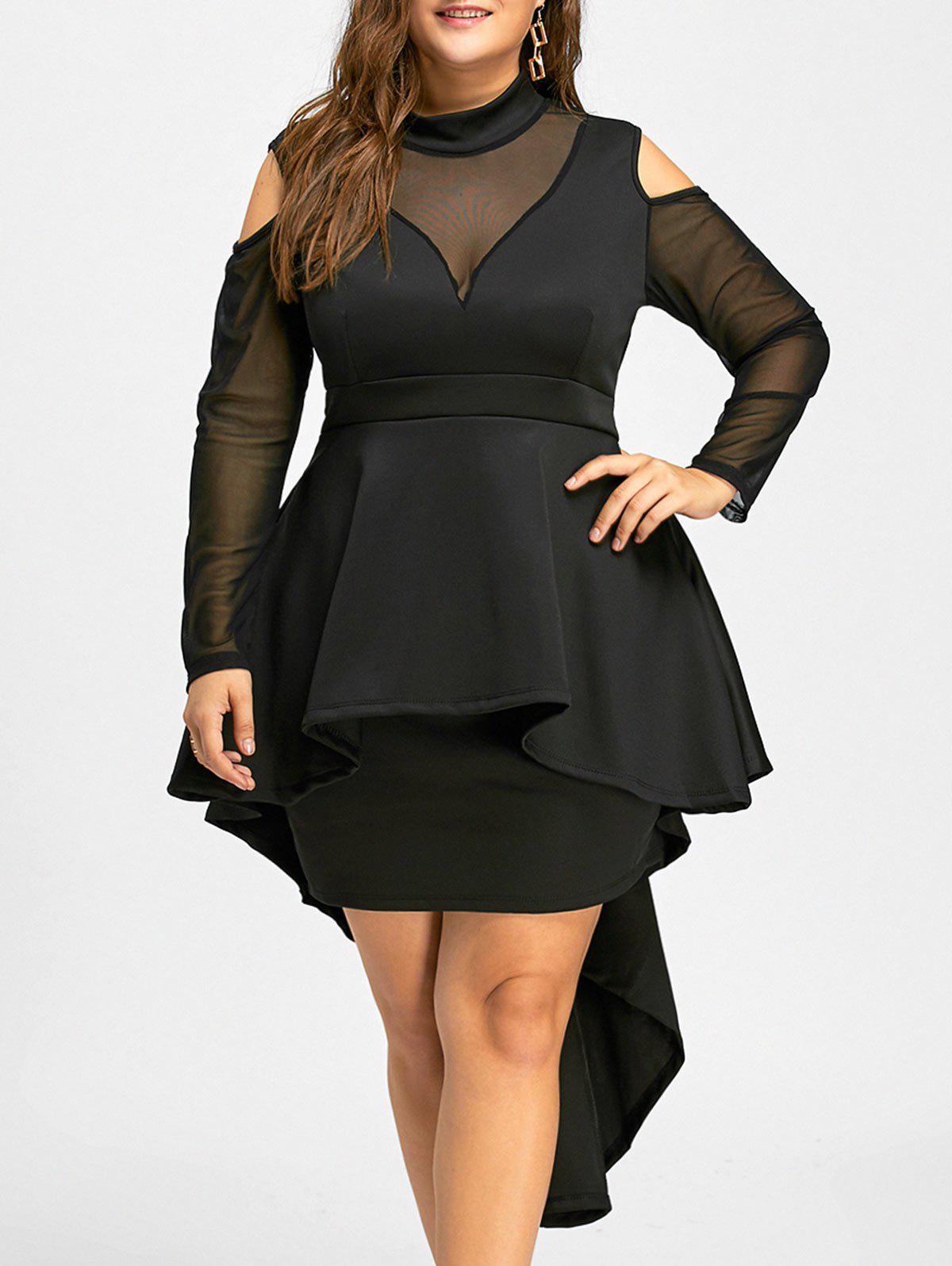 Plus Size High Low Mesh Panel Bodycon DressWOMEN<br><br>Size: 3XL; Color: BLACK; Style: Casual; Material: Cotton,Polyester; Silhouette: Bodycon; Dresses Length: Mid-Calf; Neckline: High Neck; Sleeve Length: Long Sleeves; Pattern Type: Solid; With Belt: No; Season: Fall; Weight: 0.6950kg; Package Contents: 1 x Dress;