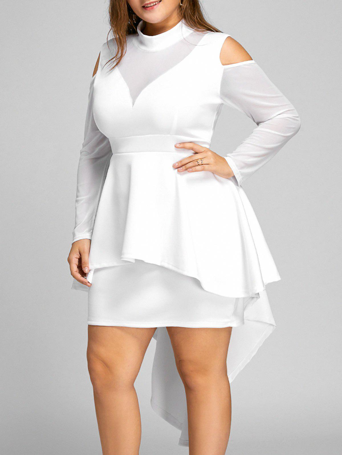 Plus Size High Low Mesh Panel Bodycon DressWOMEN<br><br>Size: 2XL; Color: WHITE; Style: Casual; Material: Cotton,Polyester; Silhouette: Bodycon; Dresses Length: Mid-Calf; Neckline: High Neck; Sleeve Length: Long Sleeves; Pattern Type: Solid; With Belt: No; Season: Fall; Weight: 0.6950kg; Package Contents: 1 x Dress;