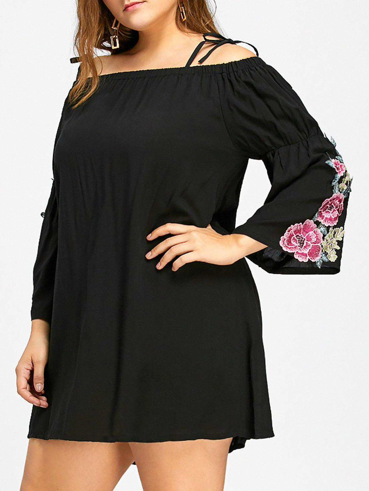 Floral Cold Shoulder Bell Sleeve Plus Size DressWOMEN<br><br>Size: XL; Color: BLACK; Style: Casual; Material: Cotton,Polyester; Silhouette: Sheath; Dresses Length: Mini; Neckline: Spaghetti Strap; Sleeve Type: Flare Sleeve; Sleeve Length: Long Sleeves; Embellishment: Appliques; Pattern Type: Floral; With Belt: No; Season: Fall,Spring,Summer; Weight: 0.2800kg; Package Contents: 1 x Dress;