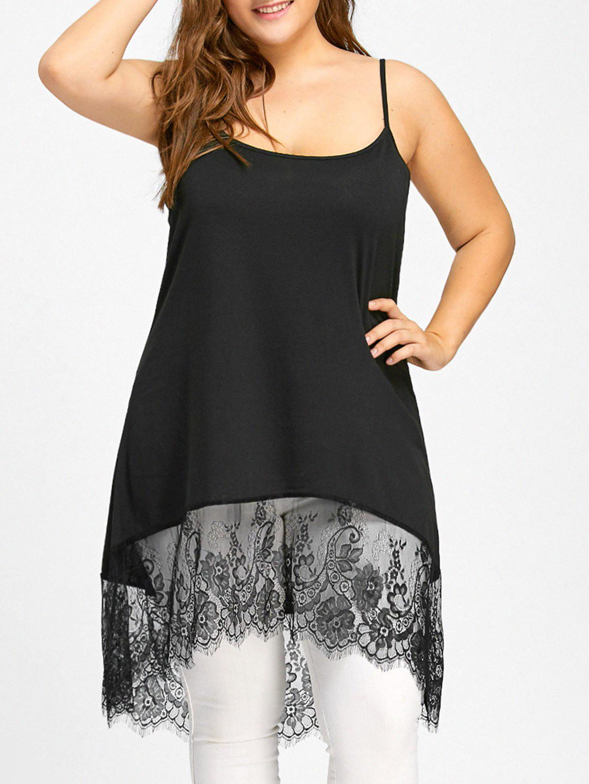 Lace Panel High Low Cami Plus Size Tank Top