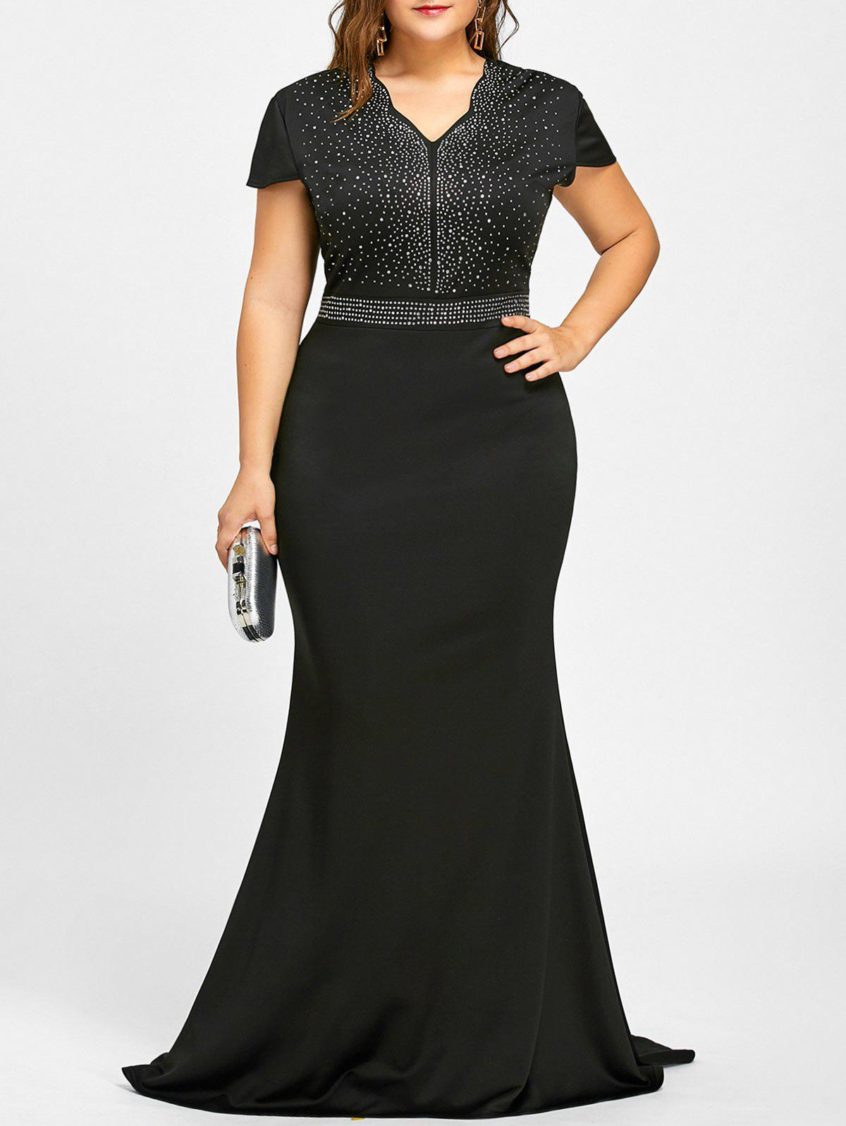 Rhinestone Maxi Plus Size Formal DressWOMEN<br><br>Size: 2XL; Color: BLACK; Style: Casual; Material: Cotton,Polyester; Silhouette: Asymmetrical; Dresses Length: Floor-Length; Neckline: V-Neck; Sleeve Type: Cap Sleeve; Sleeve Length: Short Sleeves; Embellishment: Rhinestone; Pattern Type: Solid; With Belt: No; Season: Fall,Spring,Summer,Winter; Weight: 0.6700kg; Package Contents: 1 x Dress;