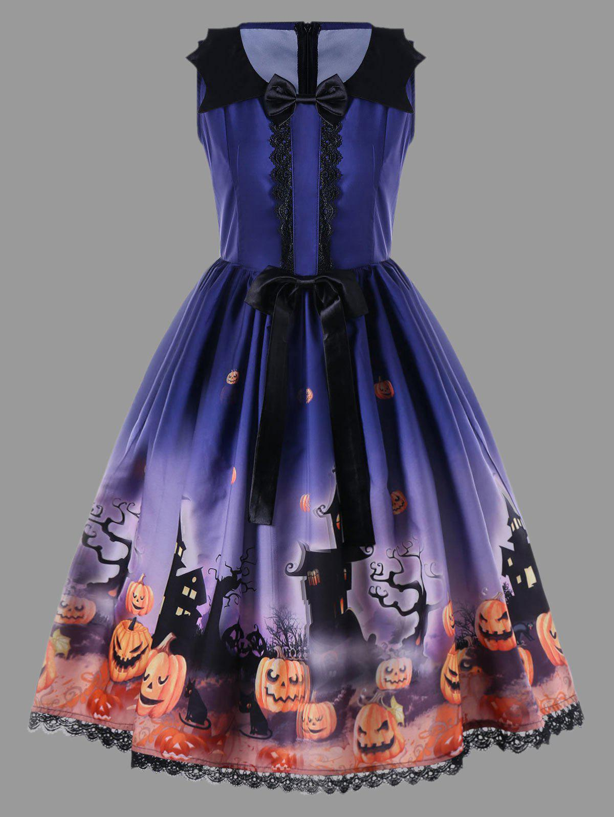 Shops Halloween Plus Size Bowknot Decorated 50s Swing Dress